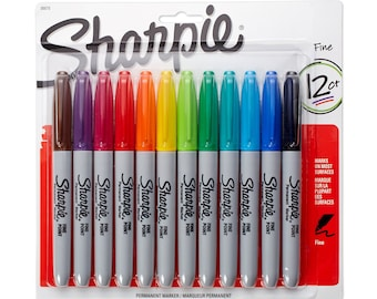 12 Sharpie Markers - Fine Point | Fine Tip Sharpies | Permanent Colored Markers | Colors, Color Marker Pens 12 Pack  | Coloring, Drawing