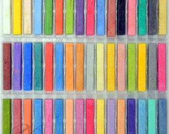 48 Chalk Pastels, Soft Pastels - Colored Chalk Set | Hair Chalk | Pastel Chalk, Drawing Chalk, Square Chalk | Gifts For Artists