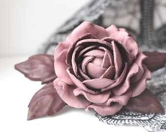 Rose Flower Brooch, Leather jewelry gift for mother bride, dusty rose, wedding anniversary, Mothers Day gift, leather brooch