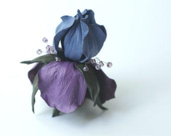Iris Flower Brooch, Leather jewelry, iris jewelry,  wedding anniversary, mother of bride flower, leather brooch leather anniversary