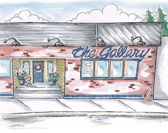 The Gallery, Grangeville, ID - Whimsical Watercolor Art, Blank Greeting Card
