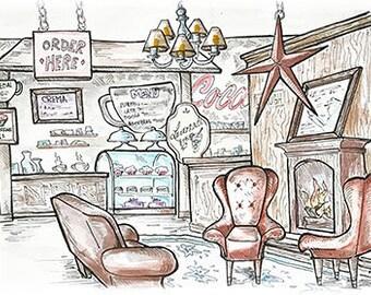 Crema Coffee, Grangeville, ID - Whimsical Watercolor Art, Blank Greeting Card