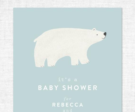 Winter Themed Baby Shower Invitation Polar Bear Baby Shower Etsy