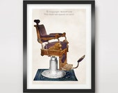 Victorian BARBER Chair ART PRINT Poster Mens Barbershop Wall Picture Hair Haircut Illustration Business Vintage Antique Old Decor A4 A3 A2