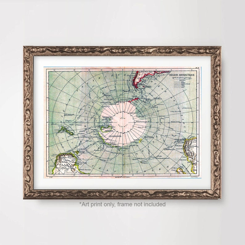 ANTARCTICA South Pole Map Polar Chart ART PRINT Year 1890 Vintage Antique Poster Wall Picture Home Decor A4 A3 A2 8x10 12x16 16x20 inch