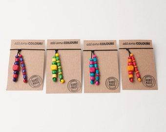 Hair ties with wooden beads