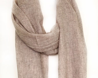 Handmade Natural Cashmere Scarf-light Brown/Beige/Peanut colour