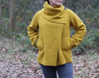 Winter Ladies Boiled felted wool mix 2 pockets/ cowl neck / lagenlook/duster jacket coat/ coatigan jacket -  MUSTARD YELLOW