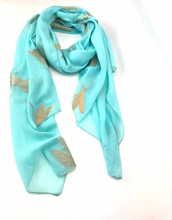 Dragonfly Printed Scarf Pretty colour Light Soft Chiffon Womens Fashion Scarf