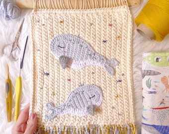 Children's whale tapestry, crochet tapestry whales, crocheted whales, children's decorative tapestry, wall decoration