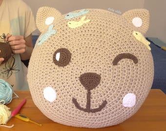 Children's handmade decorative crochet pillow with cat face