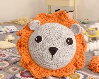 Lion cushion, crochet cushion for children. Children's decoration
