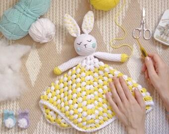 Crochet children's attachment blanket, crochet blanket, crochet rabbit blanket, children's crochet blanket with rabbit, crochet rabbit