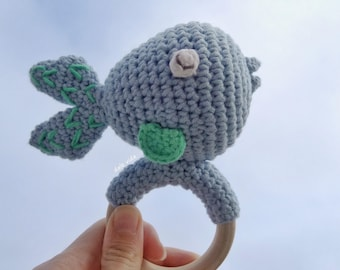 Children rattle, fish rattle, baby fish rattle toy for handmade crochet