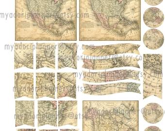 digital, printable, Vintage Maps insert/planner sticker sheet, ephemera