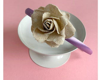 Lilac satin headband with pol dot rose - MammaMiki - Hand Made in Italy