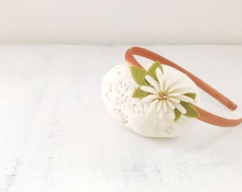 Rust-colored satin hoop with felt flower and glitter - Mammamiki - Hand Made in Italy