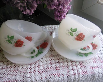 Milk Glass 4 Red Rose tea cups and saucers set 1960s