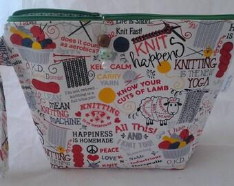 Knitting bag, Zippered crochet bag, Knit happens bag, Knitting is Yoga bag, Wedge Knit bag