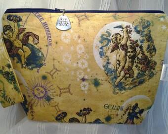 Gemini DPN, Happy Birthday Set, Gemini Project bag, Zodiac Gemini bag,Crochet bag, Envelope bag, Sock bag