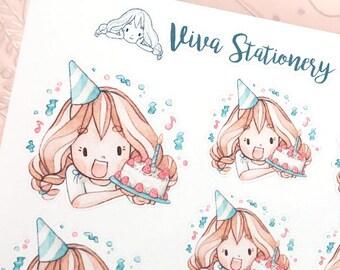 Kawaii Girl Celebrating Birthday, Anniversary Decorative Stickers ~Vera~ For your Life Planner, Diary, Journal, Scrapbook...