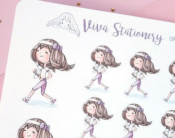 Kawaii Girl running a marathon, runner, doing workout, Decorative Stickers ~Violet~ For your Life Planner, Diary, Journal, Scrapbook...