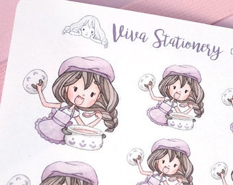 Kawaii Girl Cooking, Decorative Stickers ~Violet~ For your Life Planner, Diary, Journal, Scrapbook...