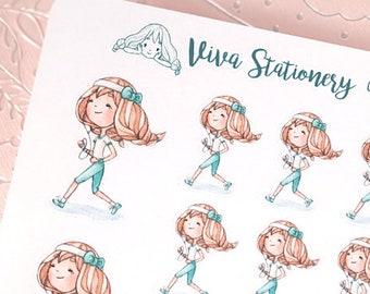 Kawaii Girl running a marathon, runner, doing workout, Decorative Stickers ~Vera~ For your Life Planner, Diary, Journal, Scrapbook...