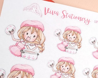 Kawaii Girl Cooking, Decorative Stickers ~Valerie~ For your Life Planner, Diary, Journal, Scrapbook...