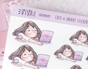 Kawaii Girl Decorative Stickers: Working extra hours, tired, bored ~Violet~ For your Life Planner, Diary, Journal, Scrapbook...