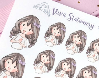 Happy Kawaii Girl Sweet Smile Decorative Stickers ~Violet~ For your Life Planner, Diary, Journal, Scrapbook...