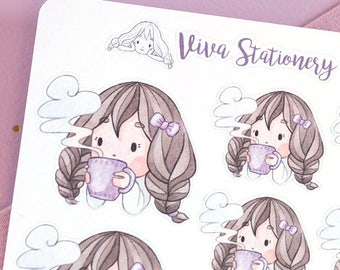 Autumn/Winter Kawaii Girl with Hot Drink Decorative Stickers ~Violet~ For your Life Planner, Diary, Journal, Scrapbook...