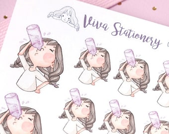 "Kawaii Girl ""Keep Hydrated!"" Decorative Stickers ~Violet~ For your Life Planner, Diary, Journal, Scrapbook..."
