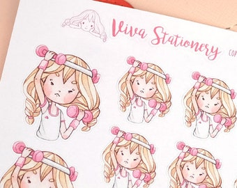 Kawaii Girl doing workout, lifting weights, getting in shape ~Valerie~ For your Life Planner, Diary, Journal, Scrapbook...