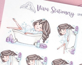 Kawaii Girl Relaxing Bath Time Decorative Stickers ~Violet~ For your Life Planner, Diary, Journal, Scrapbook...