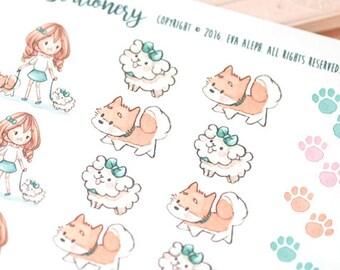 Happy Kawaii Girl Walking the Puppies Decorative Stickers ~Vera~ For your Life Planner, Diary, Journal, Scrapbook...