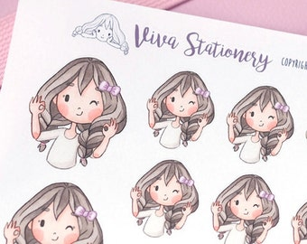 Kawaii Girl OK! Decorative Stickers ~Violet~ For your Life Planner, Diary, Journal, Scrapbook...