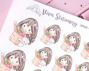 Kawaii Girl Grocery Store Decorative Stickers ~Violet~ For your Life Planner, Diary, Journal, Scrapbook...