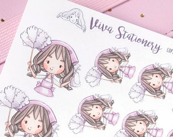 Kawaii Girl Cleaning Day Decorative Stickers ~Violet~ For your Life Planner, Diary, Journal, Scrapbook...