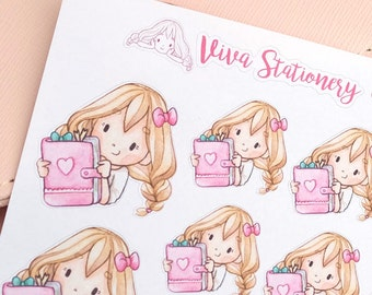 Happy Kawaii Girl Planner Lover Decorative Stickers ~Valerie~ For your Life Planner, Diary, Journal, Scrapbook...