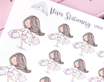 Happy Kawaii Girl Shopping Day ~Violet ~ For your Life Planner, Diary, Journal, Scrapbook...