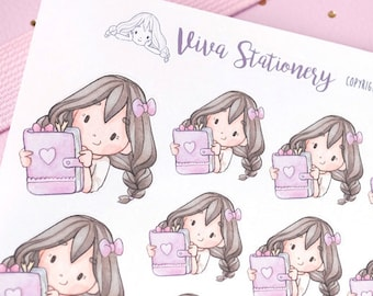 Happy Kawaii Girl Planner Lover Decorative Stickers ~Violet~ For your Life Planner, Diary, Journal, Scrapbook...