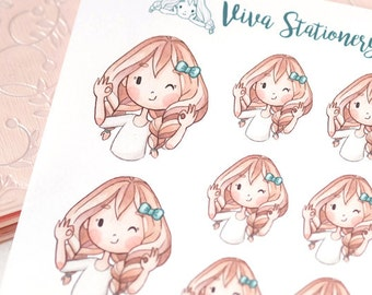 Kawaii Girl OK! Decorative Stickers ~ Vera ~ For your Life Planner, Diary, Journal, Scrapbook...