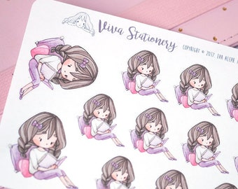 Kawaii Girl Reading a Book Decorative Stickers ~Violet~ For your Life Planner, Diary, Journal, Scrapbook...