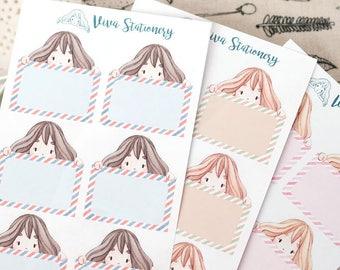 NEW! Kawaii Girl Reminder Boxes, Customizable Writing Boxes - For Erin Condren Life Planner, Filofax, Happy Planner, Kikki K, diary, journal