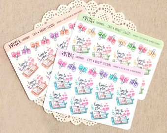 """Hand drawn decorative stickers: """"Time to Plan"""" planners and ribbon paper clips  ~ For your Life Planner, Diary, Journal, Scrapbook, notebook"""