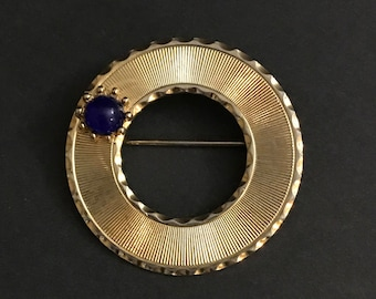 Beau Jewels,Circle Brooch,Gold tone,Sapphire Colored Stone, Pendant, Vintage Jewelry, Ladies, Gift, SoniaCollectibles