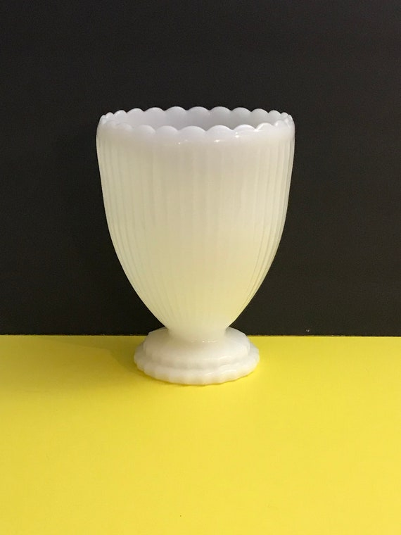 Napco Vase White Milk Glass Vase Planter Napco Footed Etsy
