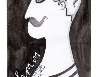 Guy with handlebar moustache, black and white, illustrated, art print, quirky art, vintage style