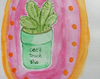 Cactus Art // Illustration // Botanical // Original Art //Watercolour // Quirky Painting